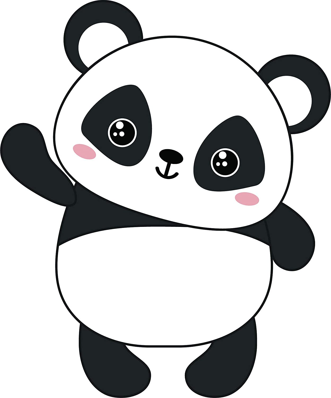 Amazon Com Kawaii Baby Panda Bear Cute Cuddly Animal Cartoon Vinyl Sticker 12 Tall Waving Automotive