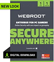 Webroot Antivirus Protection and Internet Security for PC Gamers 2019 Software | 1 Year | 1 Device | PC Download