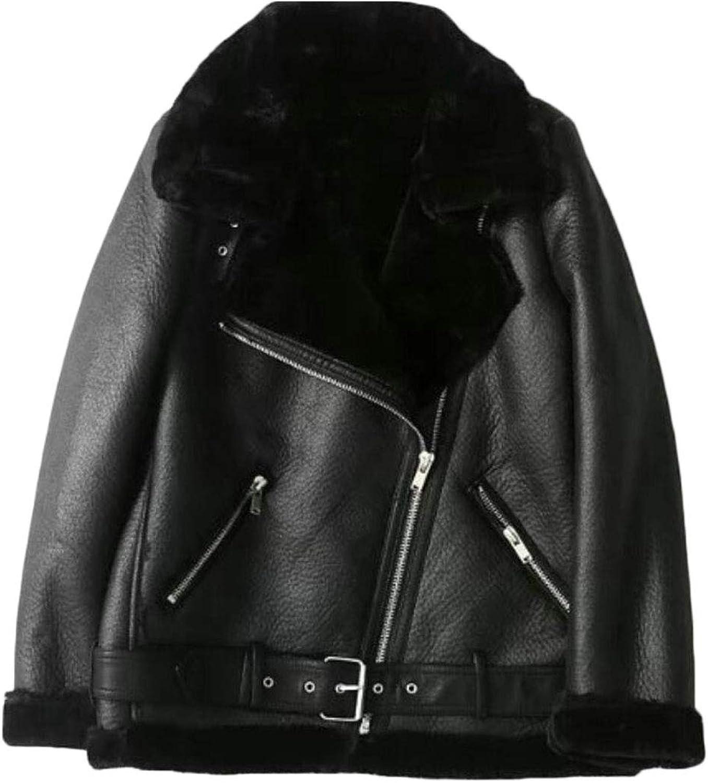 WSPLYSPJY Women's Thicken Zipper Faux Fur Lined PU Moto Warm Jacket