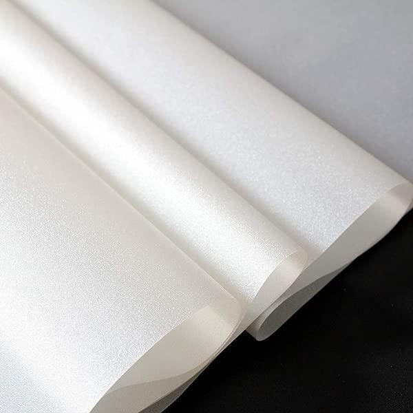 MOSU 加厚隐私贴膜白色磨砂窗膜自粘再利用乙烯基窗膜浴室玻璃膜不透明窗贴 90x 100厘米 35x 39英寸