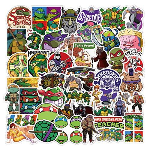 JZLMF 50 Anime Teenage Mutant Ninja Turtles Graffiti Adesivi Impermeabile Trolley valigia bagagli bagagli adesivo PVC