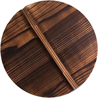 Peyan Natural Wooden Lid for Cast Iron Wok With Large Handle Anti-Hot Anti-Spillover 10/11.8/14/15.7Inch