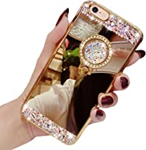 Black Lemon Mirror Case Compatible for iPhone 6, Bling Case Replacement for iPhone 6s, Luxury Diamond Soft Rubber Crystal Rhinestone Glitter Mirror Case for Girls with Ring Stand (Gold)