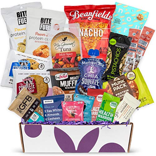 High Protein Fitness Healthy Snack Box: Fathers Day Gift Basket Premium Mix of Healthy Gourmet Protein Snacks On The Go Meal Replacements, Perfect Fitness Care Package Gifts for Military, Athletes