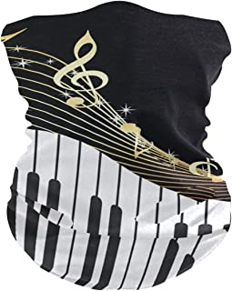 AKIOG Neck Gaiter with Filter Piano Keyboard Music Note Band