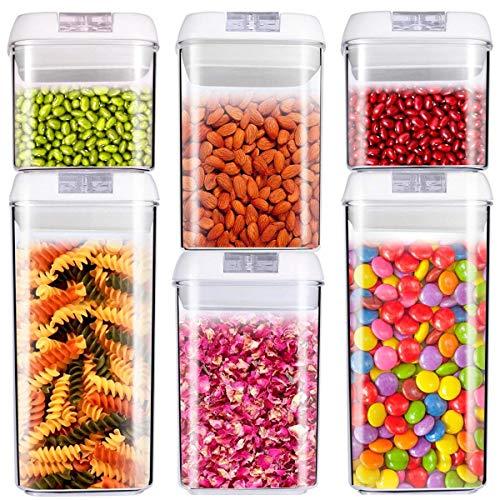 C100AE 6 Piezas Juegos de Recipientes Herméticos,Contenedor de Almacenamiento de Alimentos, Jarras de Almacenamiento de Plástico con Tapa Hermética – sin BPA
