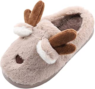 Boys Girls Cute Warm Plush Home Slippers Toddler Kids Soft Winter Bedroom Indoor House Shoes