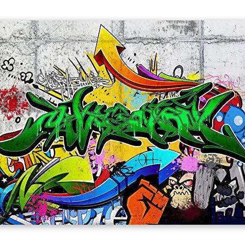 murando Fototapete Graffiti 200x140 cm Vlies Tapeten Wandtapete XXL Moderne Wanddeko Design Wand Dekoration Wohnzimmer Schlafzimmer Büro Flur Mural Streetart Betonoptik f-A-0368-a-b