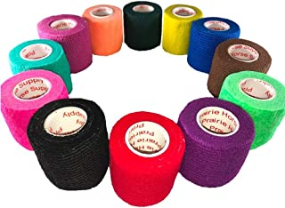 2 Inch Vet Wrap Tape Self Adhesive Medical Bandage Free Bonus Rolls (Assorted Colors) (10 Pack Plus 2 Free Rolls) Self Adherent Cohesive First Aid Sport Flex Ankle Knee Sprains and Swelling