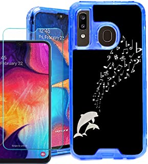 for Samsung Galaxy A20 / A50 Phone Case, 3-Layer Hybrid Bumper Protective Case (Blue) with Tempered Glass Screen Protector, by One Tough Shield - Dolphin Music