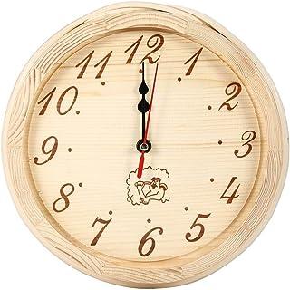 HERCHR Horloge Murale en Bois pour Salle de Sauna, Bureau à Domicile, Accessoires de Sauna, 9 Pouces de diamètre