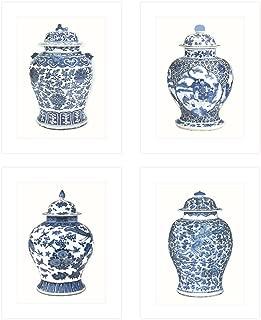 Set of 4 Blue & White Ginger Jar Fine Art 8 x 10 Prints on Archival Watercolor Paper