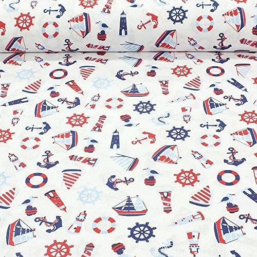 Erstklassiger Baumwollstoff 0,5lfm, 100prozent Baumwolle, modische Muster, Breite 160cm - Marine (Segelschiffe)