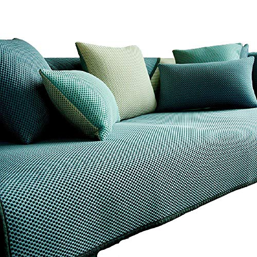 Summer Ice Silk Anti-slip Breathable Cool Sofa Cushion Sofa Slipcover for Living Room,1/2/3/4 Seater L Shaped Sectional Sofa Covers,Cotton Quilted Couch Recliner Sofa Protector,Blue,110*180cm