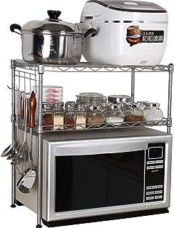 Jiahuijuan Support Simple, étagère multifonctionnelle de Four à Micro-Ondes en métal pour la Cuisine, Argent, Blanc, 55 * ...