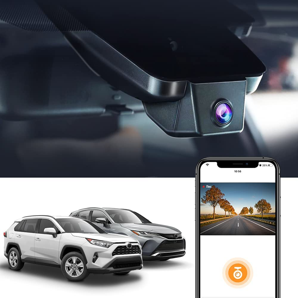 Dash Cam for Toyota RAV4 2019-2021 Hybrid Limited,Venza 2021,Fitcamx 4K UHD Night Vision,XLE LE Accessories,G-Sensor,Loop Recording,Built-in WiFi,Easy to Install,with 64GB Memory Card