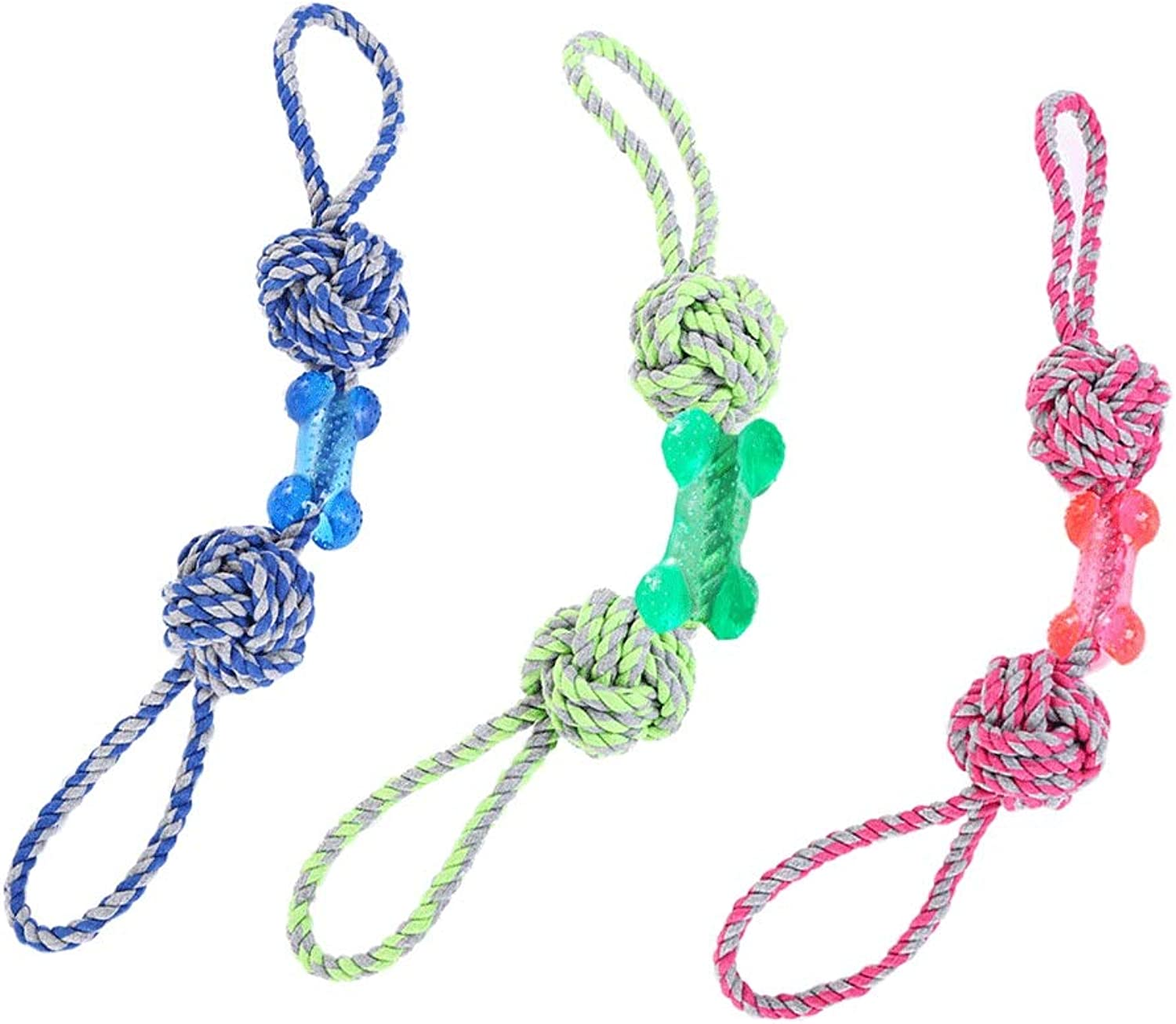 JIANXIN Pet Toys, Cotton Rope Interactive Dog Bite Toys, Molar Teeth, Suitable for Small and Medium Dogs, 3 Packs