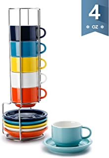 Sweese 405.002 Porcelain Stackable Espresso Cups with Saucers and Metal Stand - 4 Ounce for Specialty Coffee Drinks, Single/Double Espresso, Cappuccino, Latte and Tea - Set of 6, Hot Assorted Colors