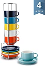 Sweese 405.002 Porcelain Stackable Espresso Cups with Saucers and Metal Stand – 4..