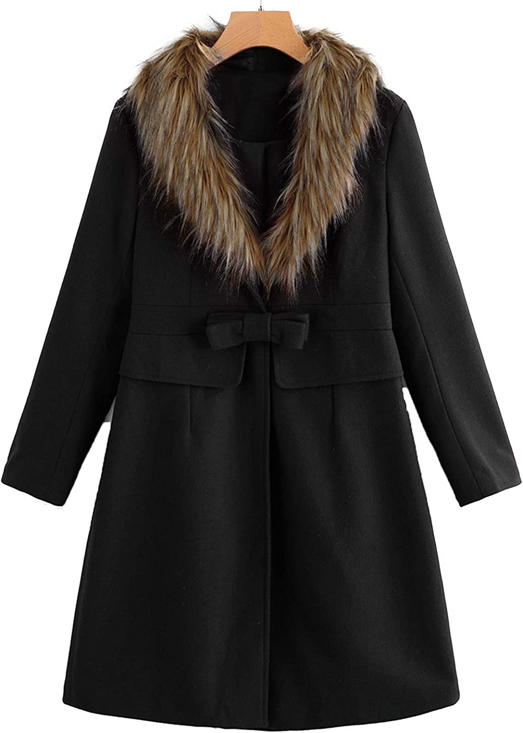 Pea Coat for Women Red with Faux Fur Lapel Ourwear Long Black Winter Trench Coat