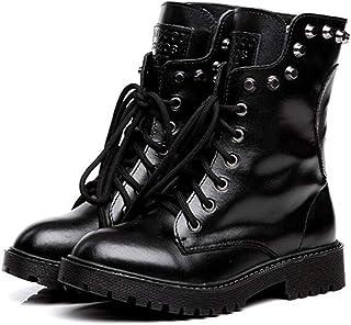 e45f7c09d96aad Black Sugar Bottine chaussures Femme Crâne Punk Split Cuir Gothique Rivet  Mi-Mollet Haut Talon