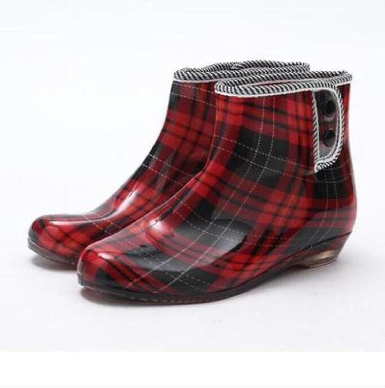 SIHUINIANHUA Frühling und Herbst Gelee Regen Stiefel Damen Kurze Stiefel Garten Slip Schuhe Schuhe, 7, 35 B07H8WQDP9  Britisches Temperament