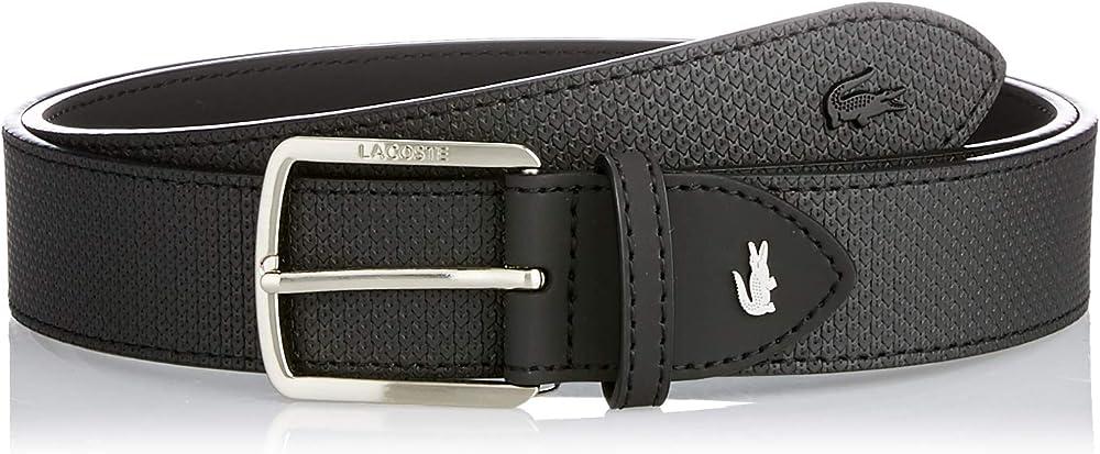 Lacoste ,cintura da uomo in pelle testurizzata con fibbia e incisione lacoste RC4005
