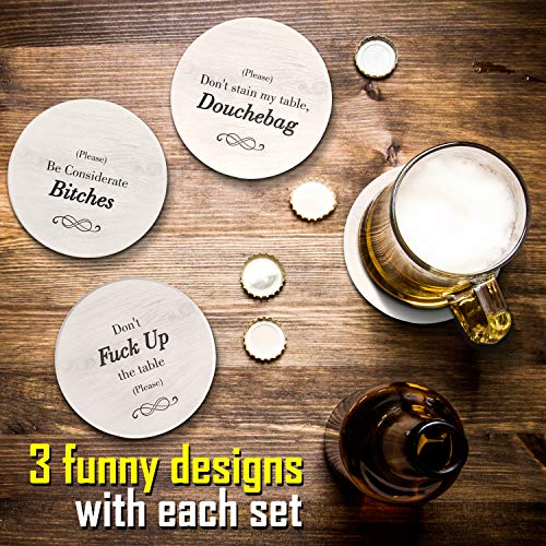 Funny Coasters for Drinks with Holder - Absorbent Drink Coasters Set 6 Pcs - 3 Sayings - Housewarming Gifts for Friends - Men, Women Birthday - Cool Home Decor - Living Room, Kitchen, Bar Decorations