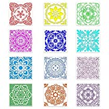 Plantillas de Mandala Set 12 Piezas Plantillas de Mandala Reutilizable Plantillas Mandala Herramientas de Arte Patrón para Pintar en Telas,Metal,Muebles y Paredes (15 * 15cm)