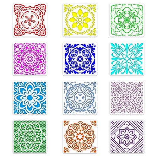 Plantillas de Mandala Set 12 Piezas Plantillas de Mandala Reutilizable Plantillas Mandala Herramientas de Arte Patrón para...