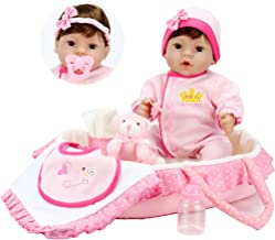 Aori 18 inch Reborn Baby Dolls Lifelike Vinyl Weighted Girl Doll,9-Piece Gift Set with Pink Carrier Bed