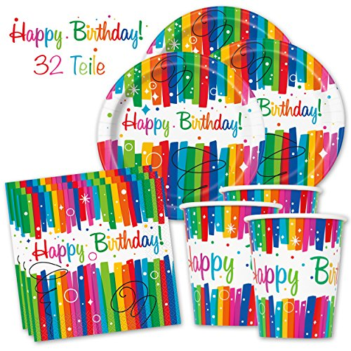 PartyMarty Happy Birthday PartyBox Rainbow - Das knallbunte Party Set für eine tolle Geburtstagsfeier - Ausstattung mit Teller, Becher, Servietten & Co. (Basic für 8 Gäste - 32-TLG GmbH®