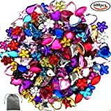BAKHK 600 Stück Strasssteine Set Acrylat Schmucksteine zum Basteln 6-13mm künstlich Glitzersteine zum aufkleben, 6 Formen gemischte Farben