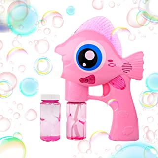 Bubble Blower- Fish Bubble Maker with LED Light up Safe Durable Handheld Bubble Gun Toys for Kids Bubble Blaster with Music for Boys and Girls Bubble Machine for Party Favors Birthday Wedding, Pink