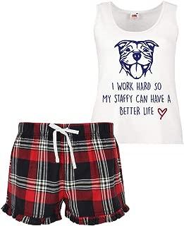60 Second Makeover Limited Women's I Work Hard So My Staffy Can Have A Better Life Pyjamas Ladies Tartan Frill Short Pyjama Set Staffordshire Bull Terrier