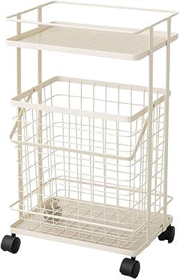エムール ランドリーバスケット ランドリーワゴン ホワイト バスケット ランドリーラック ワゴン 洗濯カゴ 2段 メッシュ キャスター付き
