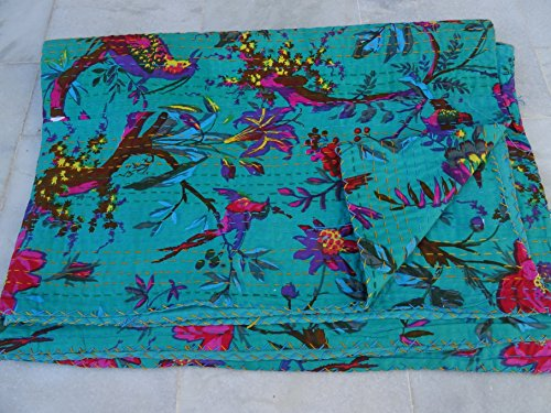 Tribal Asian Textiles Kantha Tagesdecke aus Baumwolle mit Vogel-Design