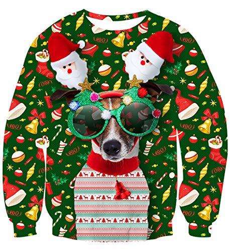 uideazone Ugly Christmas Sweater Pull de Noël Pullover Jumper 3D Imprimé Xmas Graphique Pull Santa Manches Longues Sweatshirts pour Hommes Femmes