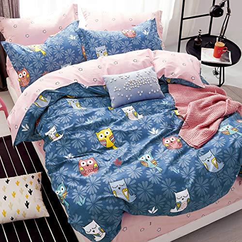 Mitchell Kinder Mädchen Bettwäsche 135x200 Eulen Motiv 100% Baumwolle Renforce Rosa Blau Wende Kinderbettwäsche - Bettbezug 135x200 cm + Kissenbezug 80x80 cm
