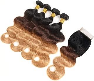 Ombre Bundles with Closure 100% Unprocessed Virgin Brazilian Human Hair Body Wave 4 Bundles with 4x4 Lace Closure 50g/Bundle (10 10 10 10+10#T1B/4/27)