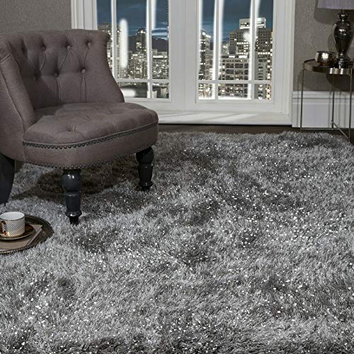SHAGGY RUG Super Plush Extra Large Rugs Living Room with SHIMMERING SPARKLE GLITTER STRANDS Fluffy 55mm Thick Pile Height Modern Area Rugs - (Dark Grey, 240cm x 340cm (7.9ft x 11.2ft))