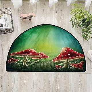 Xlcsomf Durable semi-Circular Door mat Mushroom Protective Floor Dark Forest with Mushrooms Adventure Misty Mysterious Wizard Witch Magic,W24 x L16 Sea Green Red Cream