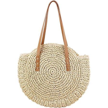 laoonl Damen Runde Strohtasche Rattan Gewebt Hobos & Schultertaschen Weide Einfache Tragbare Strandtasche