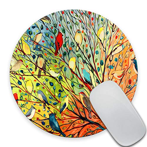 SSOIU Round Gaming Mouse Pad Custom Design, Gorgeous Illustration Painting 16 Birds Stand on The Tree, 7.87X7.87 Inch (200mmX200mmX3mm) Non-Slip Rubber Mousepad Mat