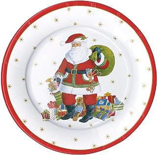 Christmas Paper Plates, Christmas Dinner Plates, Christmas Party Plates, Holiday Party Decorations, Disposable Plates- San...
