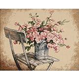 DIMENSIONS Tamaño Juego de Punto de Cruz, diseño de Rosas sobre Fondo de Color Blanco Silla