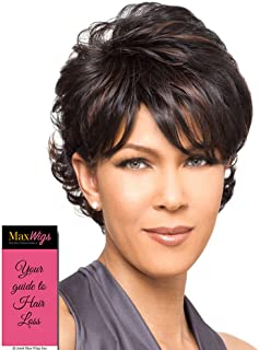 Bianca Wig Color FS4/30 - Foxy Lady Wigs Short Pixie Wavy Textured Layers Synthetic Wispy Bangs African American Women's Machine Wefted Lightweight Average Cap Bundle with MaxWigs Hairloss Booklet