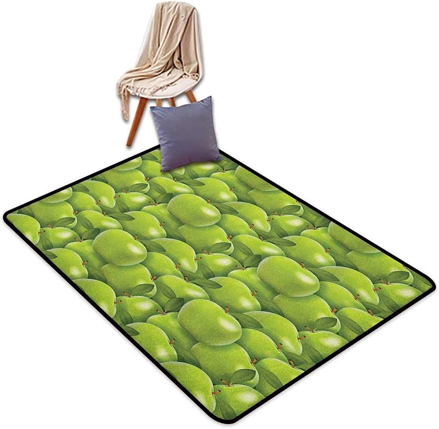 Inner Door Rug Apple Agriculture Harvest Pattern with Granny Smith Apple Drawing Autumn Fruit Door Rug Increase W4'xL6'