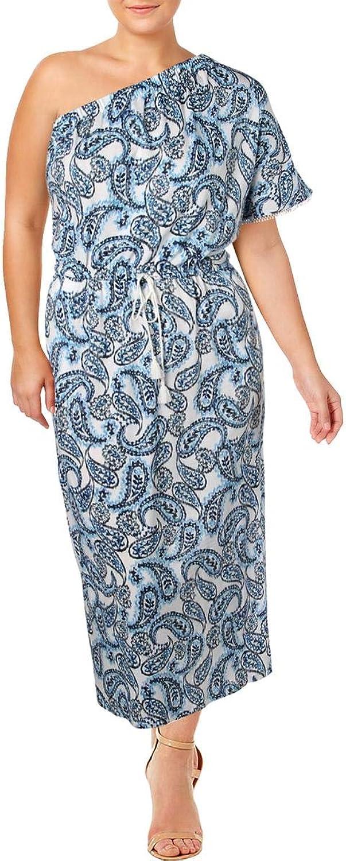 Lauren Ralph Lauren Womens Plus Printed One Shoulder Maxi Dress