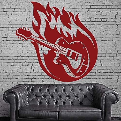 yaonuli Vinyl Muurtattoo gitaar muziek karakter Muursticker Teen Slaapkamer Decoratie Muurschildering